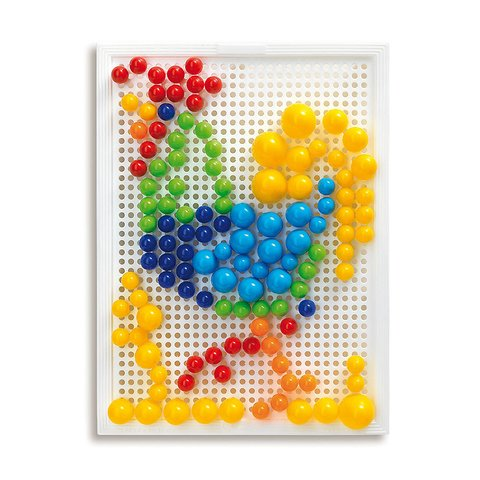 Набір для занять мозаїкою Quercetti (фішки 10/15/20 мм (160 шт.) + дошка 22×16) Прев'ю 2